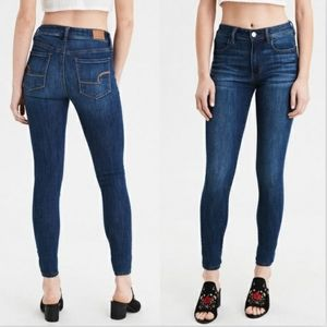 American Eagle Blue Jeggings Skinny Jeans Basic Stretchy Mid Rise